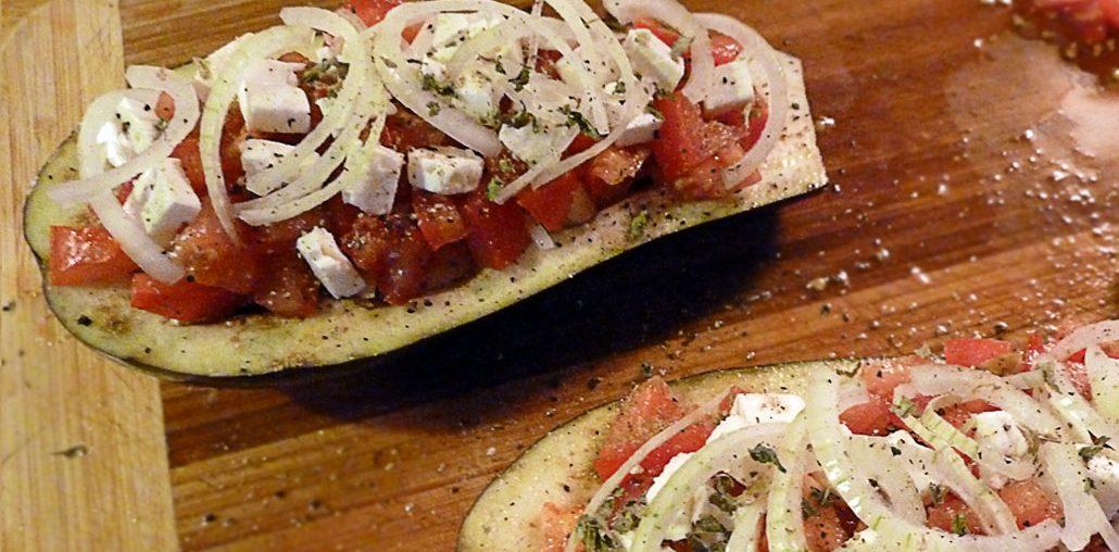 Gefüllte Aubergine – Tomate