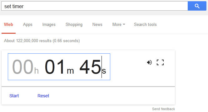 Screenshot Google Timer